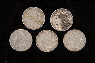 5 Morgan Silver Dollars