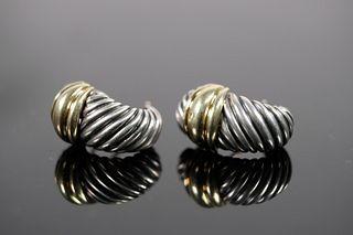 David Yurman 925 Sterling and 14k YG Earrings