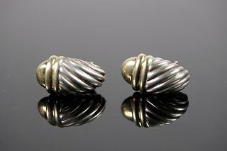 David Yurman 14k YG and 925 Sterling Earrings