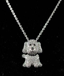 14K WG Diamond Encrusted Dog Pendant Necklace