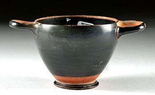 Greek Attic Black-Glazed Pottery Skyphos
