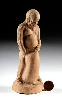 Roman Terracotta Standing Figure - Satyr w/ Wine Skin