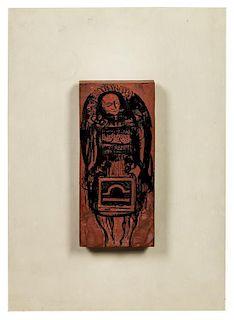 * Odilon Redon, (French, 1840-1916), Untitled (Wood Block Study of a Man), c. 1890