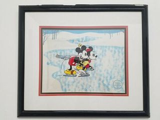 "WALT DISNEY STUDIOS ""The Skating Lesson"" Limited Edition Serigraph Cel, C 1980's - $2K Appraisal Value!"