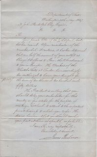 Signed Pres James Buchanan Letter Charg_ d'Affaires John Randolph Clay apr $20K