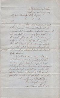 Signed Pres James Buchanan Letter Charg_ d'Affaires John Randolph Clay apr $20K