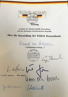 German Reunification Treaty Unique Document Signed Stamped 1990 w/COA App.$250K