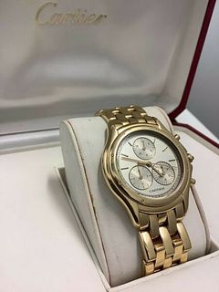 Cartier Men's Chronograph 18K YG w YG Links Qrtz Mvmt & Wtr Rstnt wCOA $50K APR!