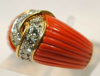 VINTAGE VAN CLEEF & ARPELS CARVED RED CORAL & DIAMOND RING UGL CERT - $35K Value