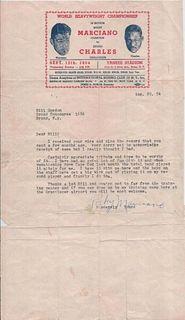 Heavyweight Champ Rocky Marciano Signed Ltr 1954 Ezzra Charles Ltrhead apr$10K