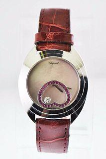 Chopard Happy Spirit Floating Diamond Ruby Heart Ladies Watch 18 KWG $35 VALUE