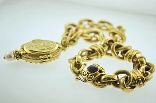 BEAUTIFUL 24 DIAMOND VINTAGE 18K+ YELLOW GOLD CAMEO PENDANT APR VALUE -$40K