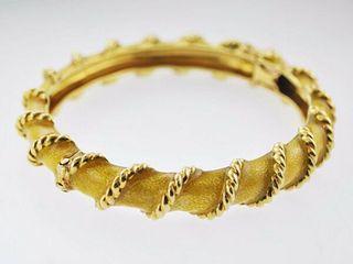 Vintage Tiffany & Co Bracelet in Yellow Gold & Enamel Design Bangle - $20K VALUE