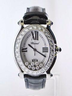Chopard Ladies Oval Wristwatch #8937 Happy Sport Floating Diamond SS $35K VALUE