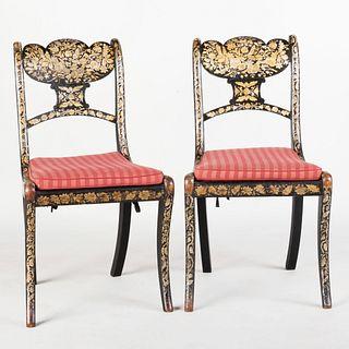 Pair of Regency Penwork Side Chairs