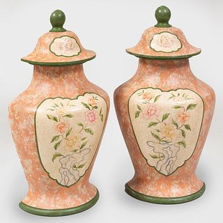Pair of Painted Wood Half Urns and Covers, Modern