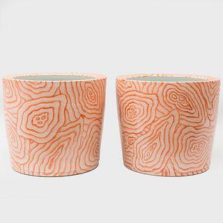 Pair of Chinese Porcelain Faux Bois Porcelain Planters