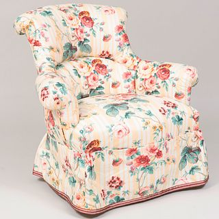 Chintz Upholstered Armchair, Fabric Designed by Mario Buatta