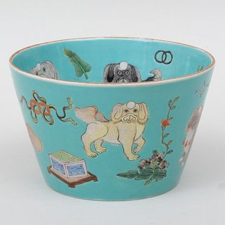 Chinese Porcelain Turquoise Ground Bowl with Chin Dogs