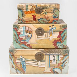 Three Chinese Export Painted Pigskin Chests