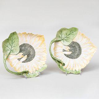 Pair of Vladimir Porcelain Sunflower Dishes