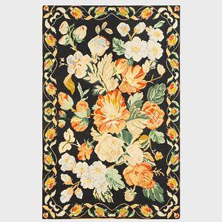 Floral Black Ground Needlework Carpet