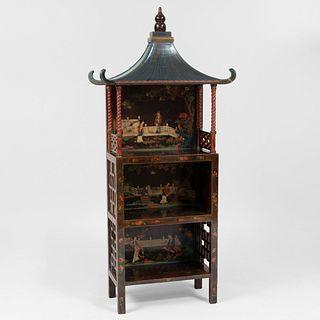English Black Lacquer and Parcel-Gilt Pagoda Étagère, 20th Century