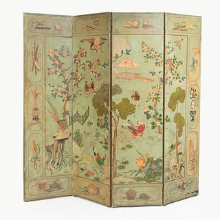 Dutch Green and Polychrome Painted and Parcel-Gilt Four Panel Screen