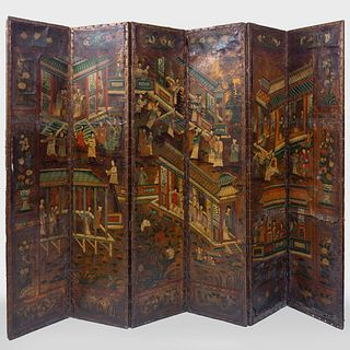 Dutch Polychrome Painted and Embossed Leather Six Panel Screen