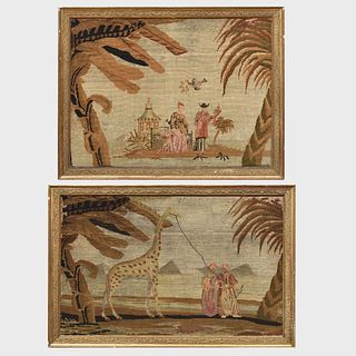 Pair of Unusual Exotic Needlepoint Pictures