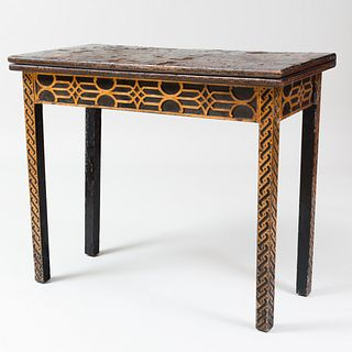 Late George III Black Lacquer and Parcel-Gilt Concertina Action Carved Games Table
