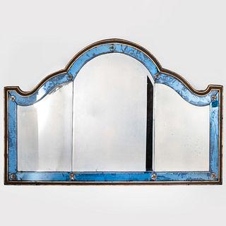 Edwardian Ebonized Parcel-Gilt and Blue Glass Overmantel Mirror