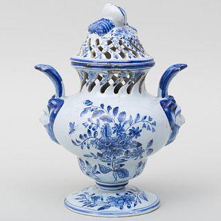 Delft Blue and White Potpourri Vase and Cover