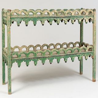 Green Painted Two Tier Plant Stand, Colefax & Fowler