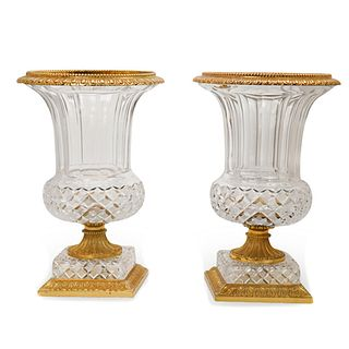 Pair of Gilded Bronze Mounted Cut Crystal Urns