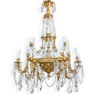 Large Gilded Bronze and Crystal Chandelier