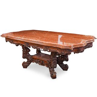 French Carved Wood and Marble Top Foyer Table