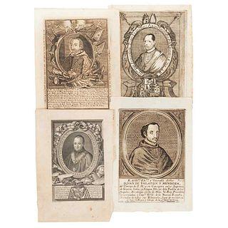 Archbishops of México.  Emmanuel Rubio y Salinas, Juan de Palafox y Mendoza (2) and Alonso Núñez de Haro y Peralta. Engravings. Pieces: 4.