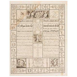 "Assensivs, Franciscvs. Varias Literarvum Formas. Engraving, 18.5 x 14.5"" (47 x 37 cm). Dedicated to: ""Carolo III Hispaniarvm et Indiarvm Regi""."