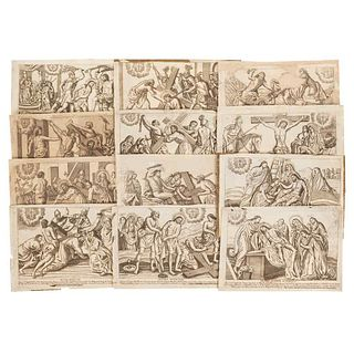 The Via Crucis. Scenes of the Via Crucis of Jesus Christ, from his flogging to his burial. Engravings. Pieces: 12.