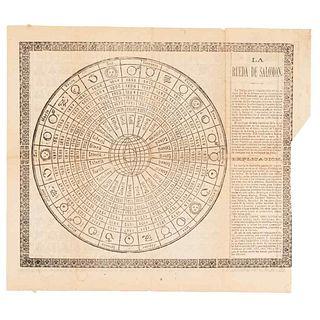 """La Rueda de Salomón / Preguntas al Oráculo.  """"La lámina que compaña este relato, es copia fiel de la famosa rueda.."""" Woodcut"""