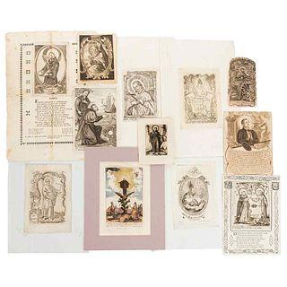 Portraits of Saints. Mexico, late 18th century, early 19th century. S. F. de Jesús, S. Francisco, S. J. Nepomuceno. Engravings. Pzs.12.