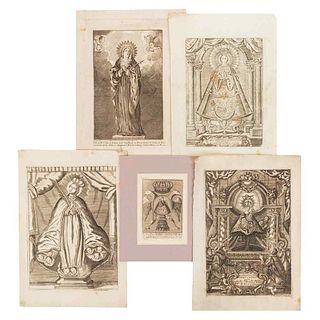 Virgins. Different Representations. V. María Conquistadora, V. Ma. de los Dolores, De S. Juan de los Lagos. N. S. de Aránzazu. Pzs.5