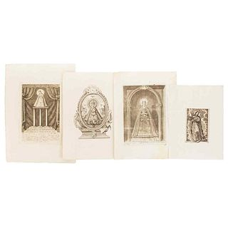 Virgins. Different Representations. Mexico, late 18th century, early 19th century.  Engravings. Pieces: 4.