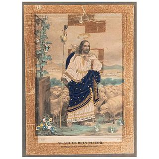 I am the Good Shepherd. My Sheep Hear My Voice,I Know Them and They Follow Me.Lithograph by Decaen. Colored.
