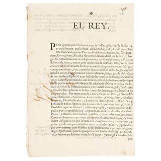 """I, the King (Philip V). Dispatch. """"Por quanto por diferentes Leyes de la Recopilación de Indias y principalmente por la... Madrid: 1718."""