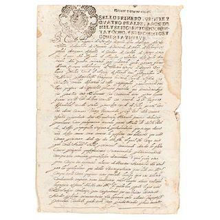 Count of Galve (Gaspar de la Cerda Sandoval Silva). Título de Alcalde maior de Apa y Tepeapulco su Partido... México 19 de Ags. de 1689