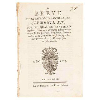 Samaniego, Felipe de / Díaz de Arce, Domingo. Breve / Real Orden. Breve de Nuestro Muy Santo Padre Clemente XIV. Madrid: 1773.