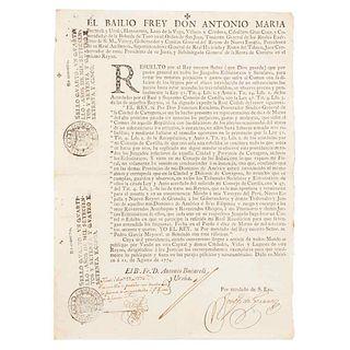 """Bucareli y Ursúa, Antonio María. Vando: """"… que con solo una rebeldía se concluya todo lo que antes se hacía por tres…"""". México: 1774."""