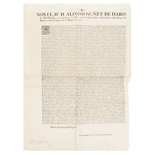 Núñez de Haro y Peralta, Alonso. Bando: Reducción de Asilos a Delinqüentes en Todos los Dominios de S. M. de las Españas... May, 1774.
